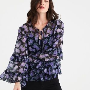 AEO Navy Bell Sleeve Ruffle Floral Blouse